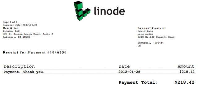 linode first payment
