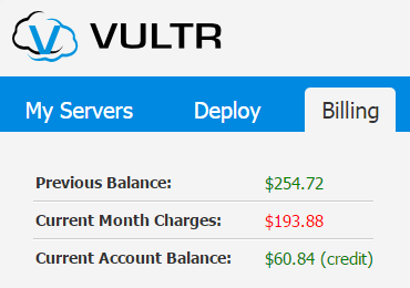 vultr billing balance