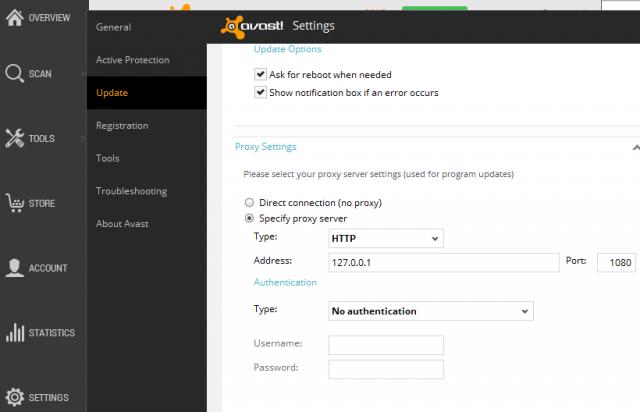 avast settings proxy http port authentication