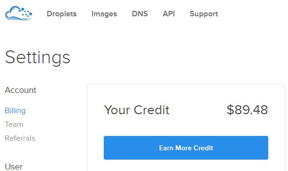digital ocean vps credit
