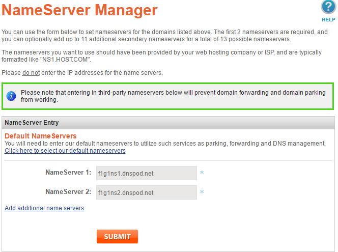 namesilo name servers dnspod